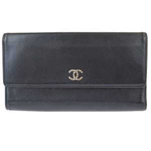 Chanel CHANEL CC Logos Long Trifold Wallet Purse Leather Black Italy