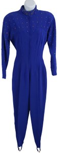 Lillie Rubin Lillie Ruben Vintage 70s Body Jumpsuit Beaded Blue