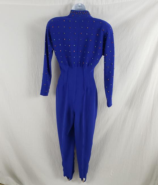 Lillie Rubin Lillie Ruben Vintage 70s Body Jumpsuit Beaded Blue Image 1