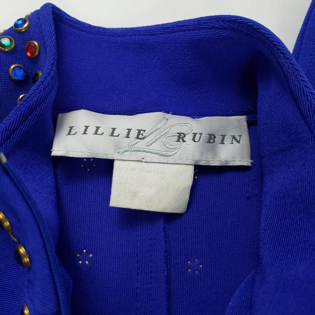 Lillie Rubin Lillie Ruben Vintage 70s Body Jumpsuit Beaded Blue Image 10