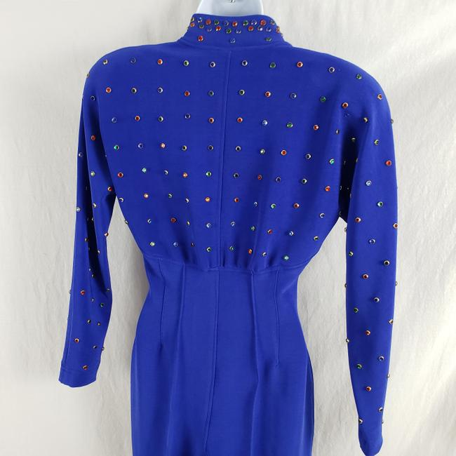 Lillie Rubin Lillie Ruben Vintage 70s Body Jumpsuit Beaded Blue Image 4