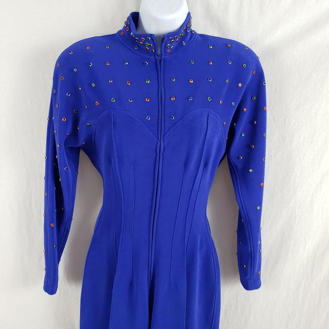 Lillie Rubin Lillie Ruben Vintage 70s Body Jumpsuit Beaded Blue Image 6