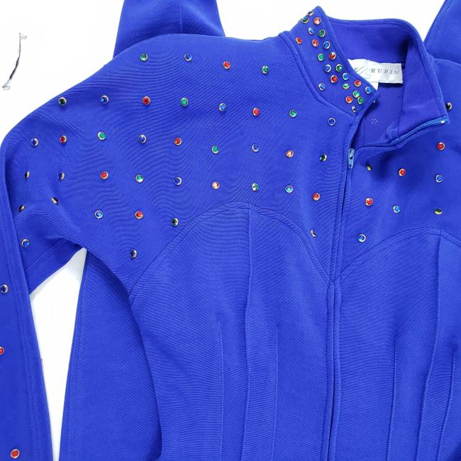 Lillie Rubin Lillie Ruben Vintage 70s Body Jumpsuit Beaded Blue Image 8
