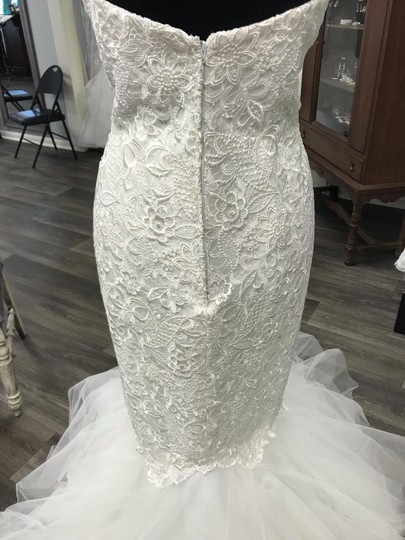 Casablanca Ivory Lace with Tulle At Bottom 2129 Sexy Wedding Dress Size 10 (M) Image 2