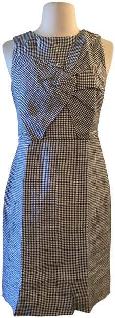 Item - White Navy Check Drape Knot Windowpane In Irish Linen Ch Short Work/Office Dress Size 0 (XS)