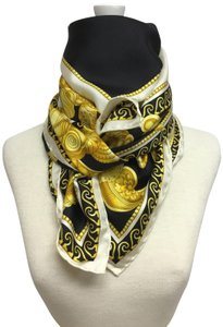 Versace Black and gold medusa and shell scarf