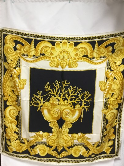 Versace Black and gold medusa and shell scarf Image 1