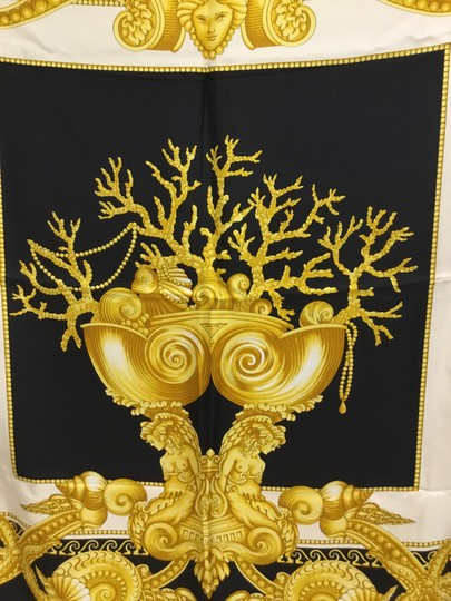 Versace Black and gold medusa and shell scarf Image 2