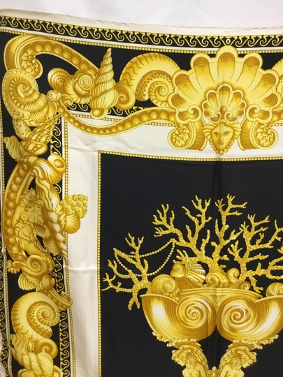 Versace Black and gold medusa and shell scarf Image 3