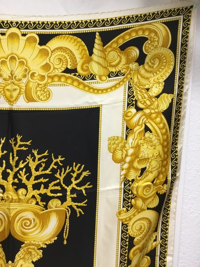Versace Black and gold medusa and shell scarf Image 5