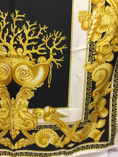 Versace Black and gold medusa and shell scarf Image 6