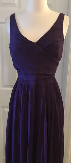J.Crew Eggplant Silk Heidi In Chiffon Gown Feminine Bridesmaid/Mob Dress Size 8 (M) Image 3