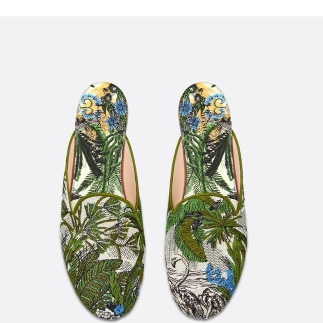 Item - Green Blue Multicolored Sandal =10us Embroidered Cotton-green Mules/Slides Size EU 40 (Approx. US 10) Regular (M, B)