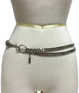 Dolce&Gabbana Silver double loop chain belt with hook