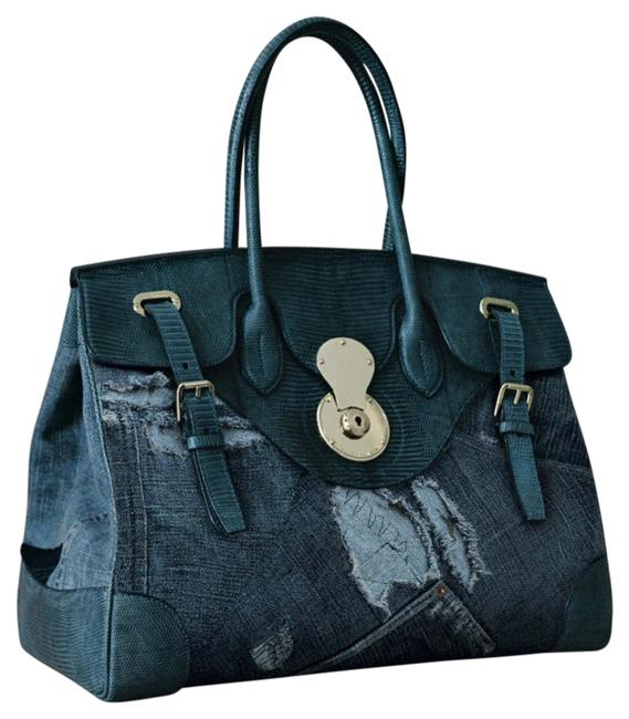 Ralph Lauren Collection Ricky 40 Blue Genuine Lizard Skin & Distressed Denim Tote Ralph Lauren Collection Ricky 40 Blue Genuine Lizard Skin & Distressed Denim Tote Image 1