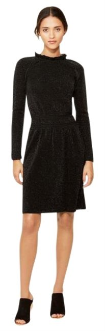 Preload https://img-static.tradesy.com/item/25684492/tory-burch-black-isabella-mini-long-sleeve-metallic-fit-and-flare-short-cocktail-dress-size-12-l-0-1-650-650.jpg