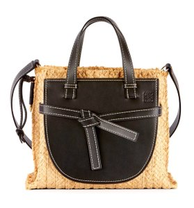 Loewe Gate Small Gate Raffia Gate Tote in Black Smooth Leather And