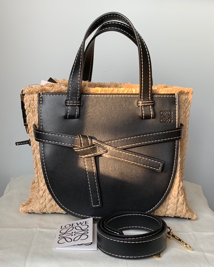 Loewe Gate Small Gate Raffia Gate Tote in Black Smooth Leather And Image 1