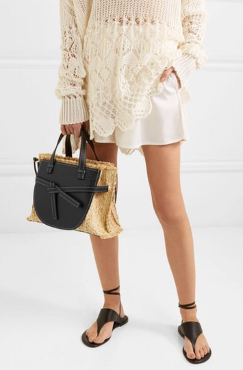 Loewe Gate Small Gate Raffia Gate Tote in Black Smooth Leather And Image 10