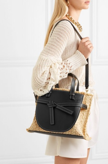 Loewe Gate Small Gate Raffia Gate Tote in Black Smooth Leather And Image 11