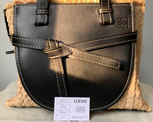 Loewe Gate Small Gate Raffia Gate Tote in Black Smooth Leather And Image 2