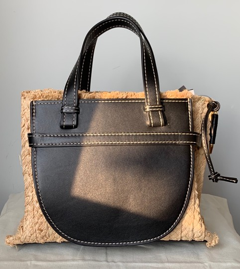 Loewe Gate Small Gate Raffia Gate Tote in Black Smooth Leather And Image 3