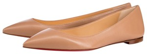 Christian Louboutin Pointed Toe Patent Leather Pigalle So Kate Ballalla Beige Flats