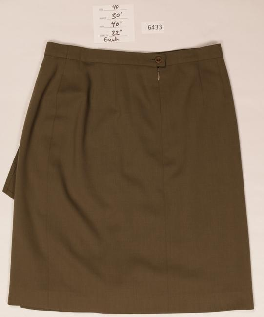 Escada Wool Pleated Skirt Gold Brown Image 2