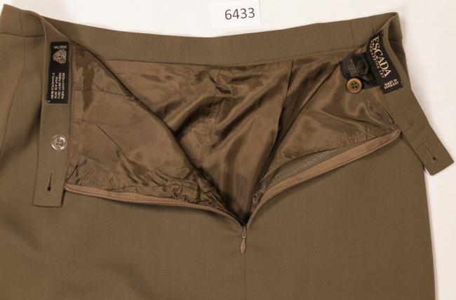 Escada Wool Pleated Skirt Gold Brown Image 4