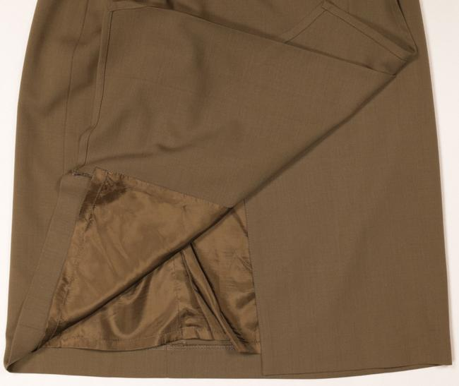 Escada Wool Pleated Skirt Gold Brown Image 5