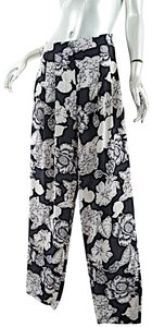 Etro Silk Elastic Waist Floral Relaxed Pants Black Putty
