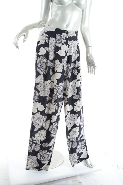 Etro Silk Elastic Waist Floral Relaxed Pants Black Putty Image 1