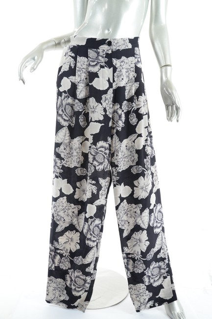 Etro Silk Elastic Waist Floral Relaxed Pants Black Putty Image 2