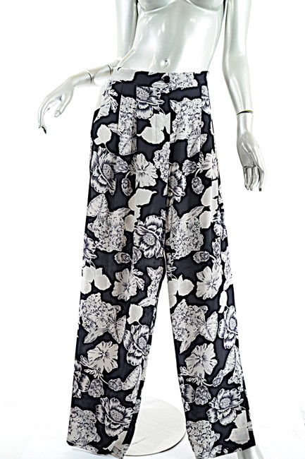 Etro Silk Elastic Waist Floral Relaxed Pants Black Putty Image 3