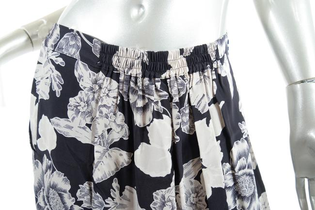 Etro Silk Elastic Waist Floral Relaxed Pants Black Putty Image 5