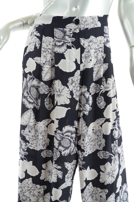 Etro Silk Elastic Waist Floral Relaxed Pants Black Putty Image 6