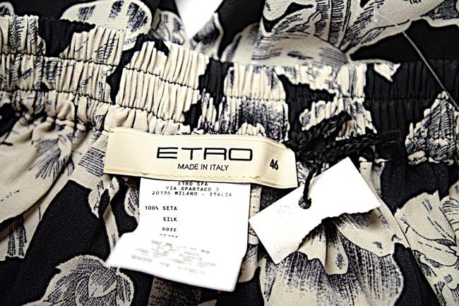 Etro Silk Elastic Waist Floral Relaxed Pants Black Putty Image 7