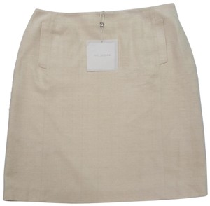 St. John Silk European Tweed Skirt off-white