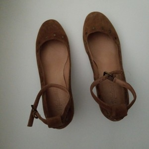 Madewell camel nubuck leather ballerina with ankle closing Formal