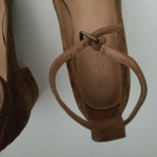 Madewell camel nubuck leather ballerina with ankle closing Formal Image 1