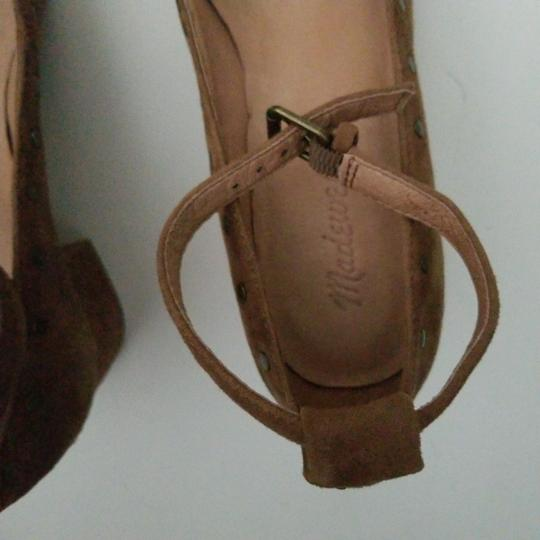 Madewell camel nubuck leather ballerina with ankle closing Formal Image 2
