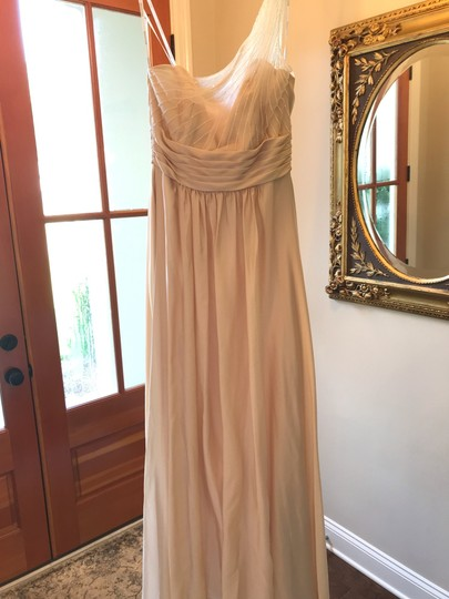 Belsoie Champagne Long One Shoulder Sandstone/Champagne Traditional Bridesmaid/Mob Dress Size 8 (M) Image 0