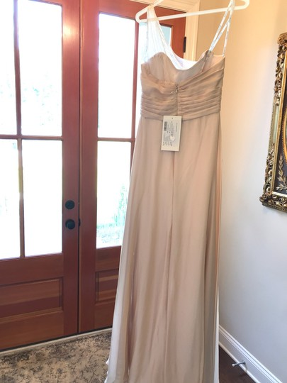 Belsoie Champagne Long One Shoulder Sandstone/Champagne Traditional Bridesmaid/Mob Dress Size 8 (M) Image 1
