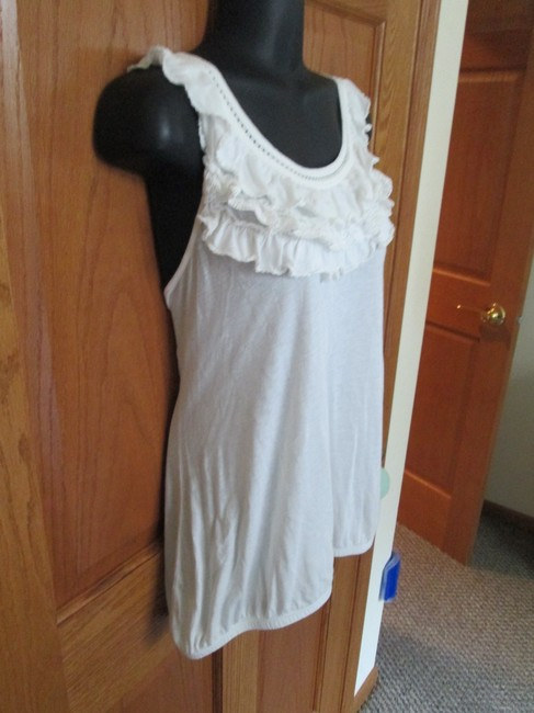 Anthropologie Ruffled Bubble Hem Spring Summer Boho Top White Image 2