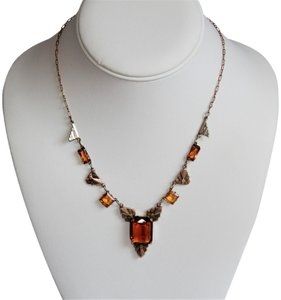 CZECH AMBER Vintage Art Deco Style Czech Amber Glass and Stamped Brass Necklace.
