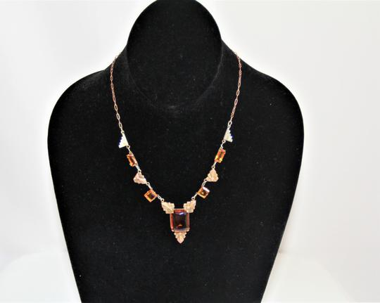 CZECH AMBER Vintage Art Deco Style Czech Amber Glass and Stamped Brass Necklace. Image 1