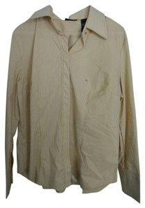 New York & Company Button Down Shirt Yellow and white