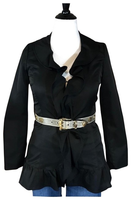 Preload https://img-static.tradesy.com/item/25684953/cynthia-rowley-black-ruffle-detail-jacketblazer-jacket-size-4-s-0-1-650-650.jpg