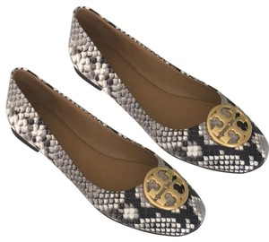 Tory Burch Brown/ Cream Snakeskin Print Flats