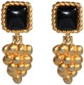RUNWAY COUTURE Vintage Escada Black Enamel and Brushed Gold Earrings Image 0
